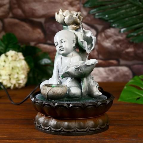 Фонтан настольный от сети, подсветка Маленький Будда с лотосом