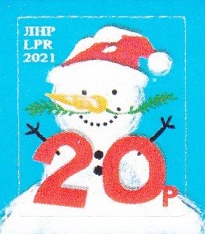 Почта ЛНР(2021 01.25.) стандарт 20 руб. Снеговик- лист