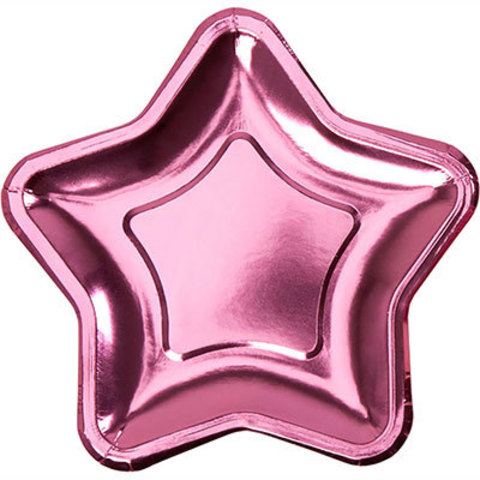 Тарелки блестящие Звезда розовая, 8 штук
