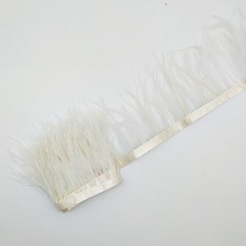 Тесьма  из перьев страуса h 8-10 см.,  молочный