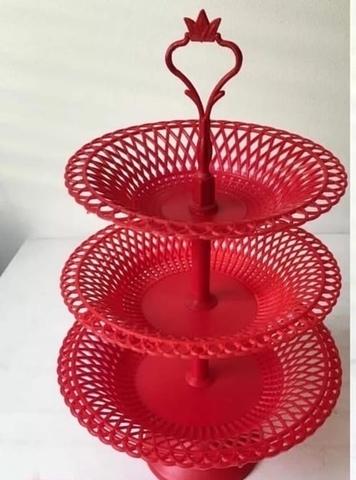 Фруктовница пластмассовая сборная 3 яруса красная