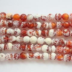 Бусина Агат Огненный (тониров), шарик с огранкой, цвет - янтарно-коричневый, 8 мм, нить