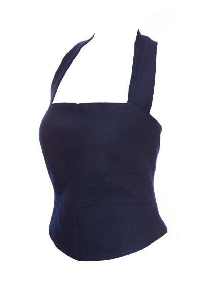 Эффектный шерстяной топ синего цвета от Chanel, 42 размер
