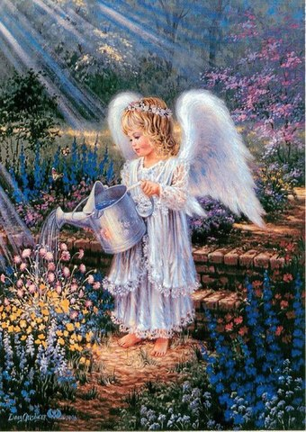 Алмазная Мозаика 30x40 Ангелок поливает цветы