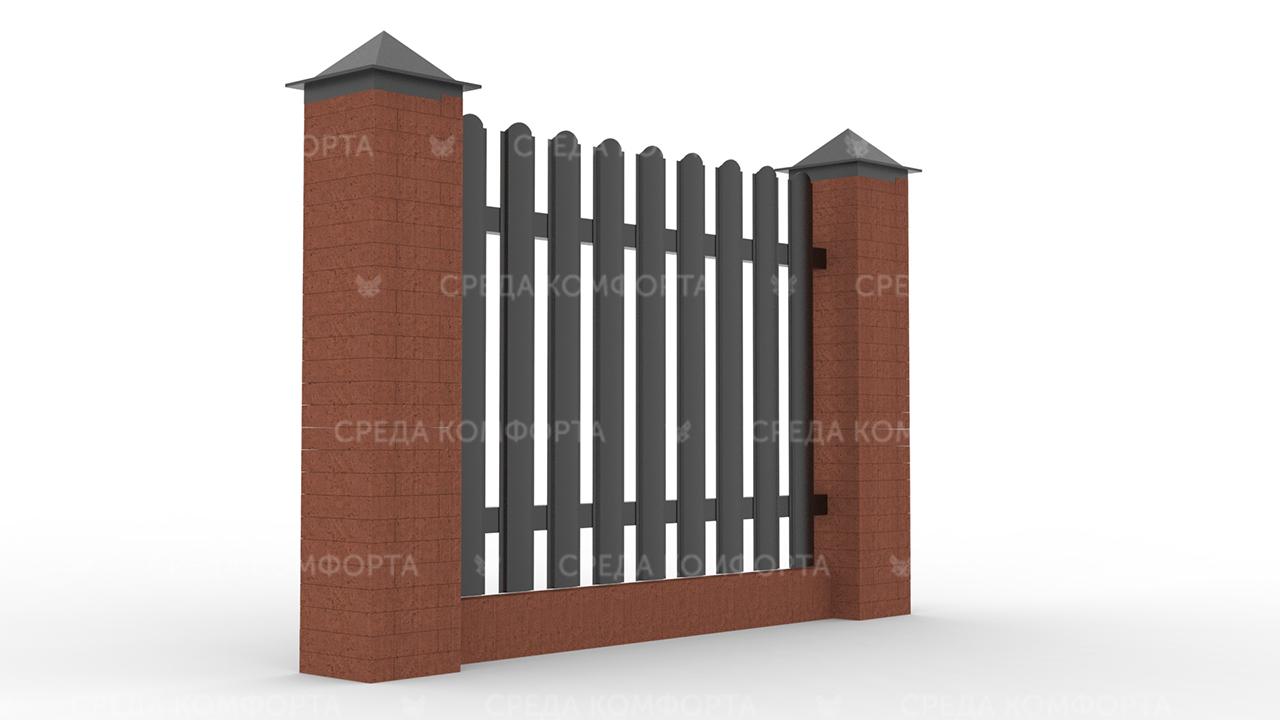 Забор из евроштакетника ZBR0052