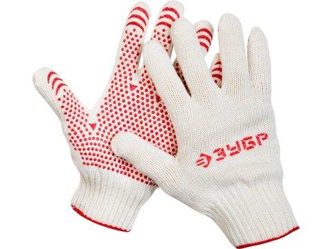 ЗУБР МАСТЕР, размер S-M, перчатки для тяжелых работ, х/б 7 класс, с ПВХ-гель покрытием (точка)