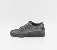 Серые ботинки из велюра с лазерной обработкой на шнуровке