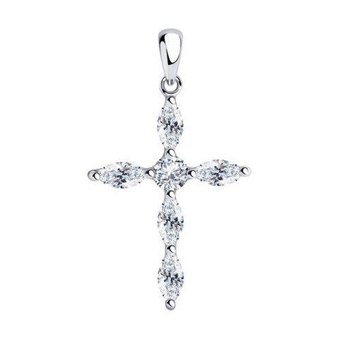 94032564 - Крестик из серебра с фианитами