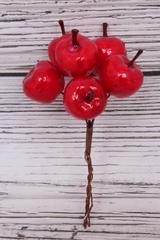 Яблоки Красные 4*4 см, 6 шт на ветке, 1 уп.