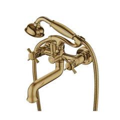 Смеситель для ванны и душа Kaiser (Кайзер) Cross 41022-1 Bronze двухвентильный с лейкой и шлангом, цвет - бронза
