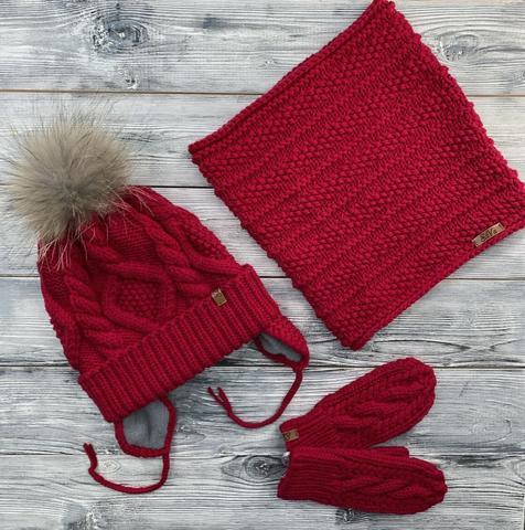 Комплект: шапка, снуд, варежки