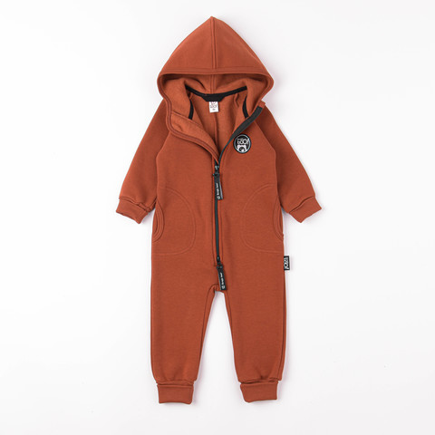 Warm hooded jumpsuit with pockets - Terracotta