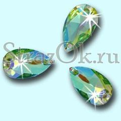 Стразы пришивные акриловые Drope Peridot AB, Капля Перидот АБ светло-зеленый с радужным покрытием на StrazOK.ru купить