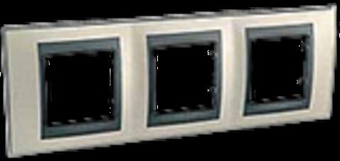 Рамка на 3 поста. Цвет Опал-графит. Schneider electric Unica Top. MGU66.006.295