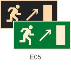 фотолюминесцентный знак эвакуации Е05 Направление к эвакуационному выходу направо вверх