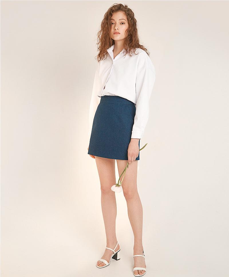 Мини-юбка из синего денима