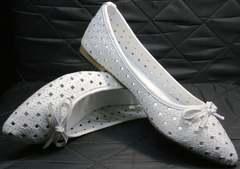 Кожаные женские балетки Vasari Gloria 19Y38860-37 White.