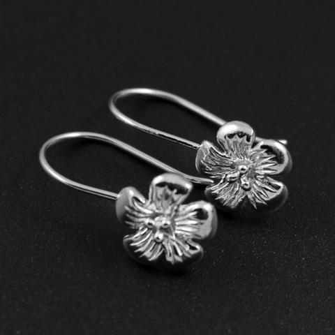 Швензы Цветок открытые серебро 925 1 пара