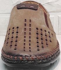 Мужские летние мокасины туфли без шнурков стиль casual Luciano Bellini 91737-S-307 Coffee.