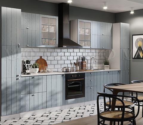 Кухня Техно-1 серо-голубая 3,4 м
