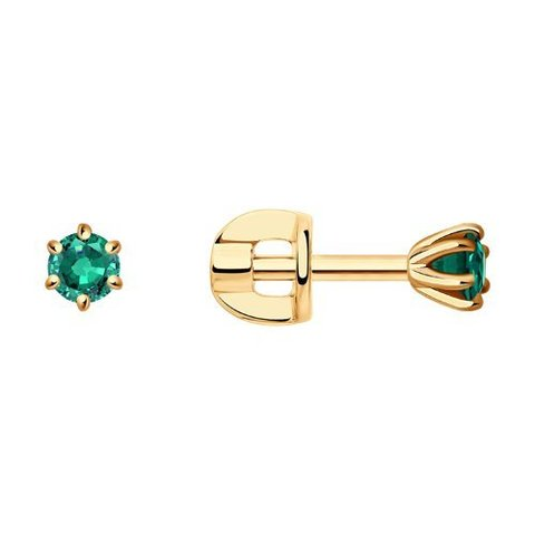 3020509 - Серьги-гвоздики из золота с изумрудами