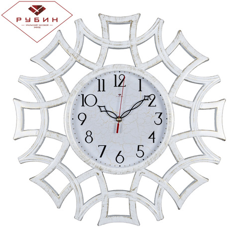 4945-103 (5) Часы настенные круг ажурный d=48,5см, корпус белый с золотом
