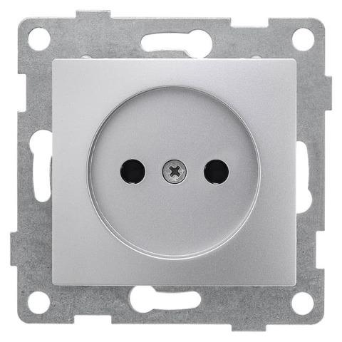 Розетка электрическая 2К без заземления с защитными шторками, 16 А 220/250 В~. Цвет Серебро. Bravo GUSI Electric. С10Р2-004