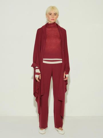 Женские брюки бордового цвета из 100% шерсти - фото 2