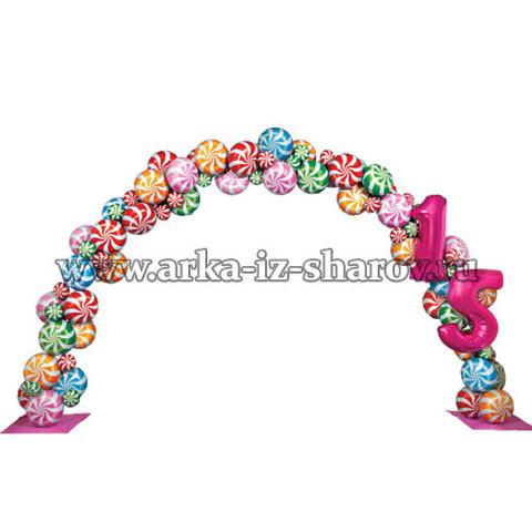 арка из шаров карамельный день рождения