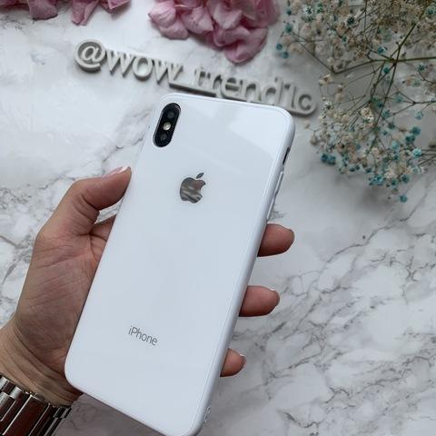 Чехол iPhone XS MAX Glass Full color Case Logo /white/