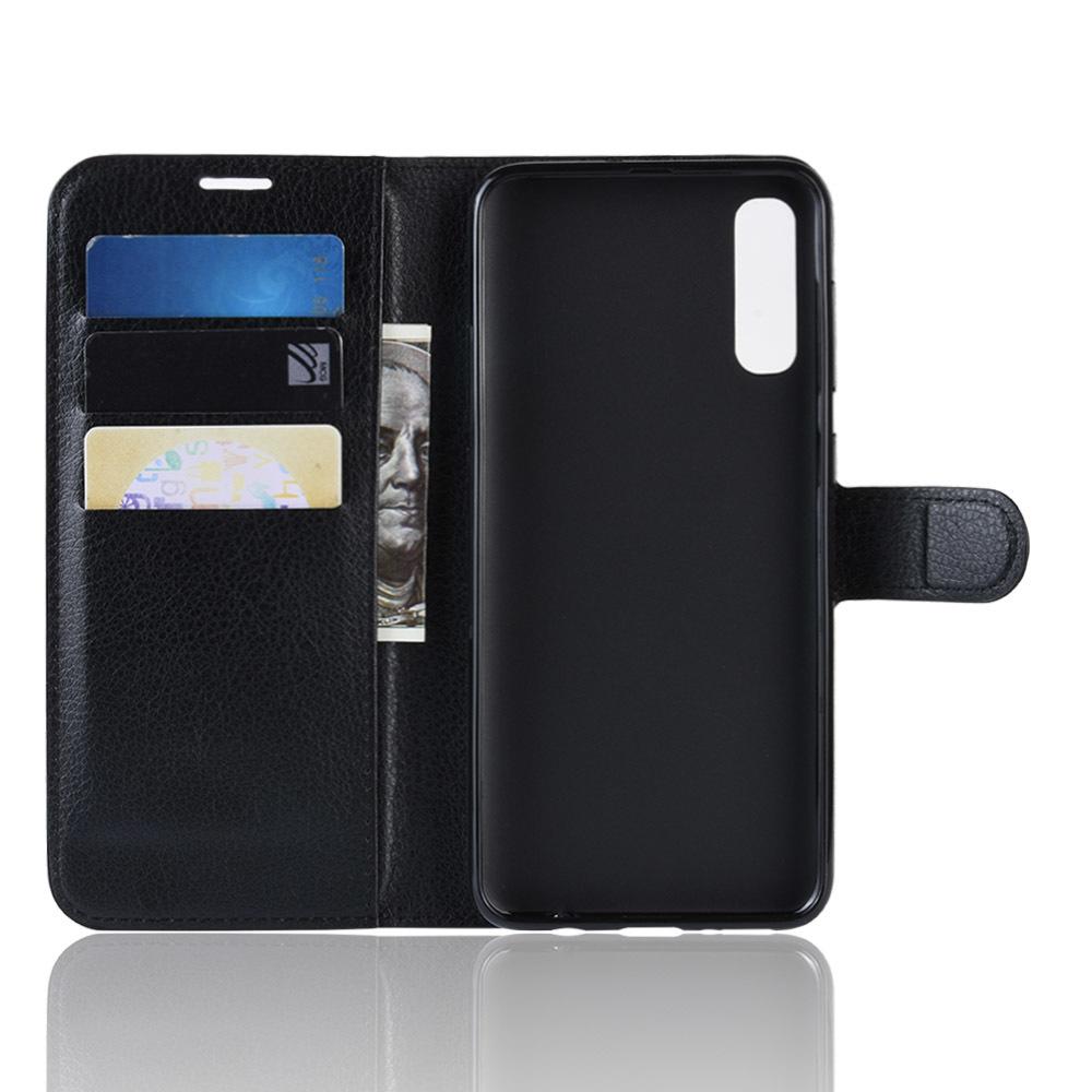 Чехол книжка черного цвета для Samsung Galaxy A50 и A50S, с отсеком для карт и подставкой от Caseport