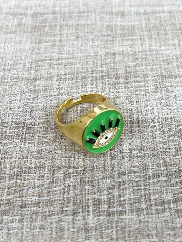 Кольцо Глаз зеленое, позолота