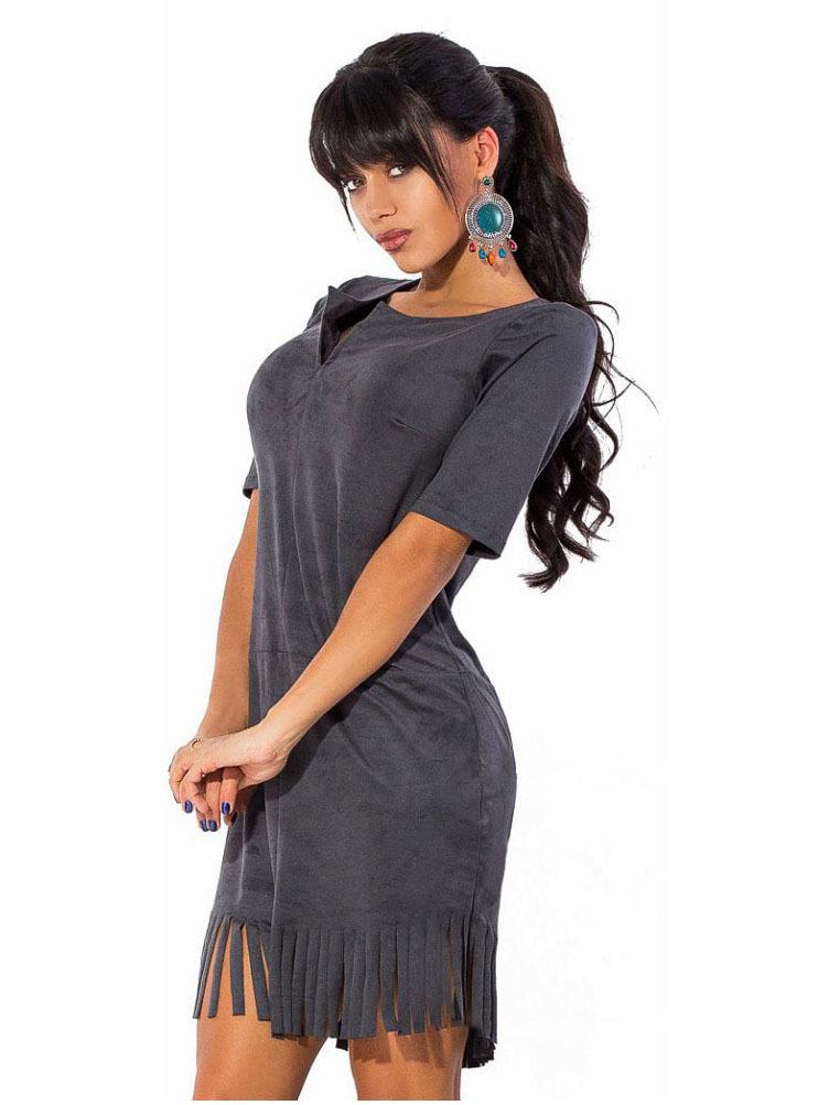 Короткое платье из замши с бахромой, серое