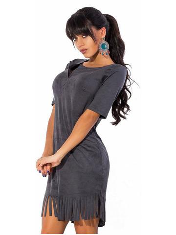 Короткое платье из замши с бахромой, серое 1