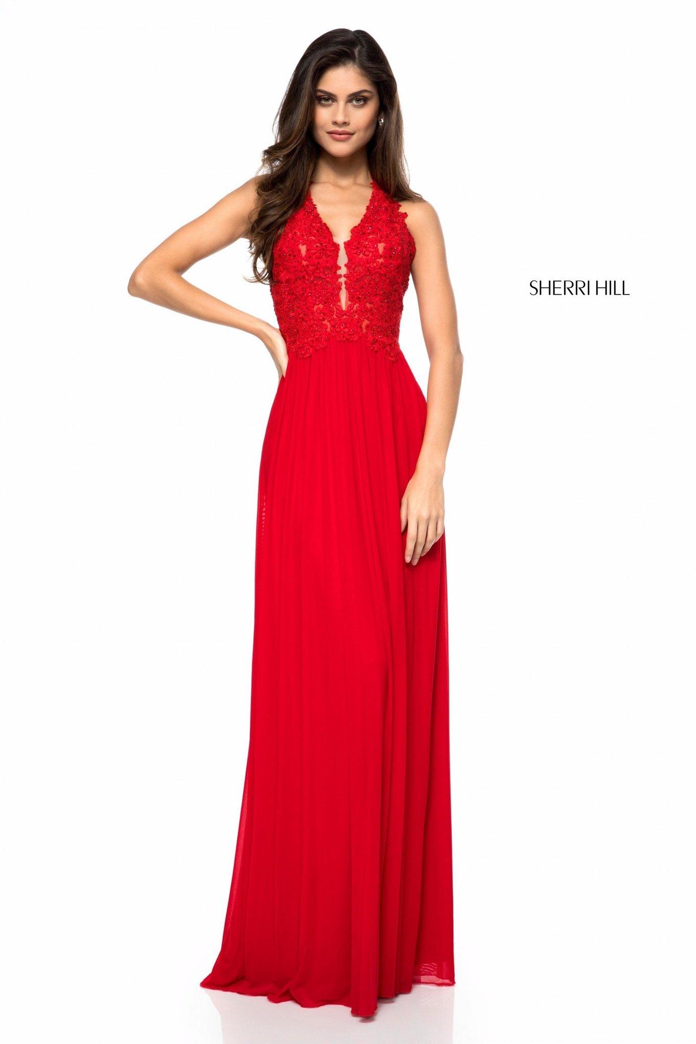 Sherri Hill 51553  Красное платье с расшитым богато камнями лифом и струящейся, пышной юбкой в пол