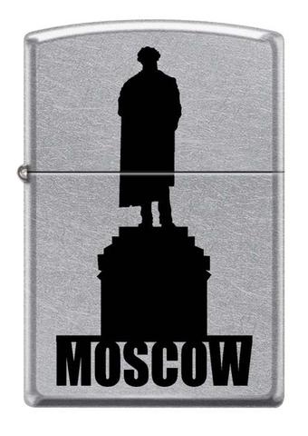 Зажигалка Zippo Памятник Пушкину, латунь/сталь с покрытием Street Chrome™, серебристая, 36x12x56 мм123