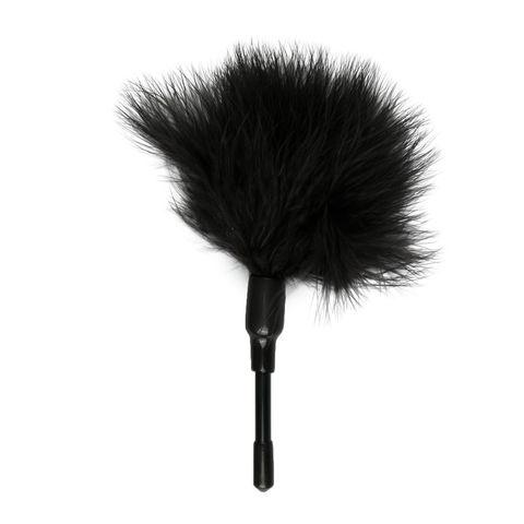 Черный мини-тиклер с перышками - 17 см.