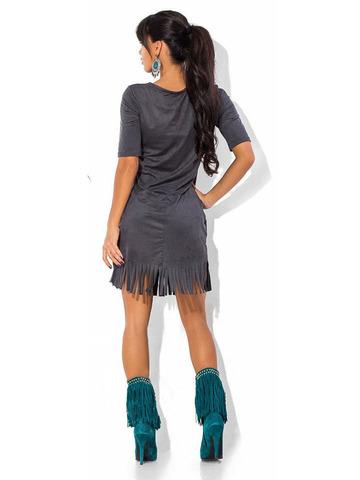 Короткое платье из замши с бахромой, серое 2