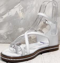 Летние женские босоножки сандали через палец Evromoda 454-402 White.
