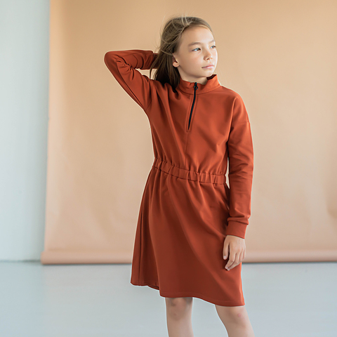 Sporty sweater dress for teens - Terracotta