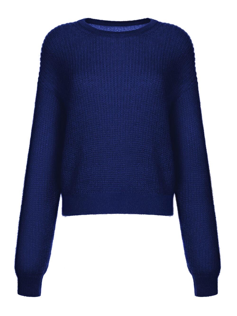 Женский джемпер темно-синего цвета из мохера и шерсти - фото 1