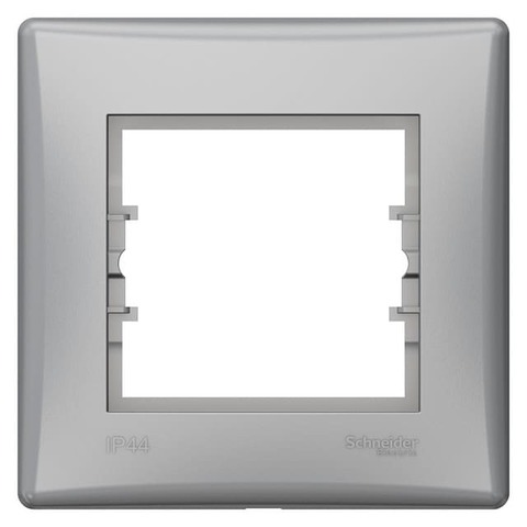 Рамка на 1 пост - IP44. Цвет Алюминий. Schneider Electric Sedna. SDN5810560