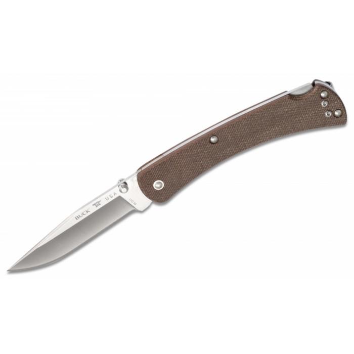 Складной нож BUCK 0110BRS4 110 Slim Pro Brown Micarta S30V, коричневая рукоять