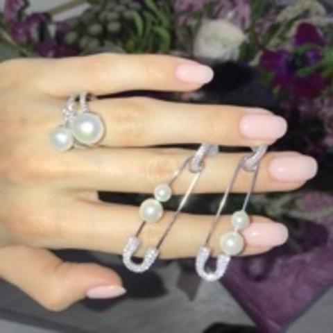 Серьги Булавки из серебра с жемчугом и фианитами