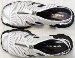 Модные босоножки на платформе ботильоны из натуральной кожи Marani Magli 163-854-01 White Black.