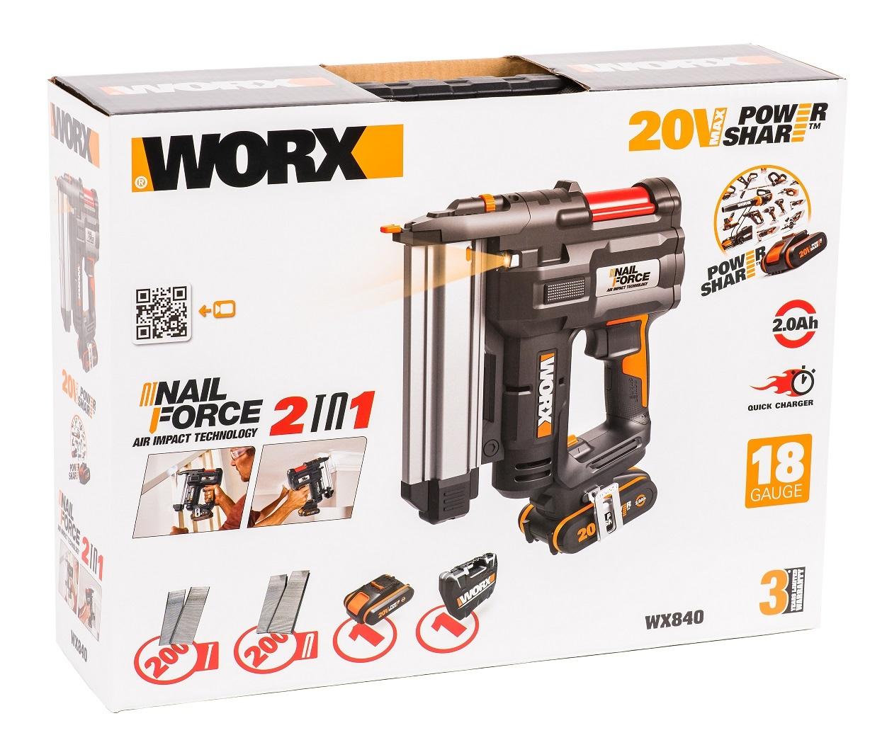 Аккумуляторный Гвозде-скобозабиватель WORX WX840 20В, 2Ач х1, ЗУ, кейс