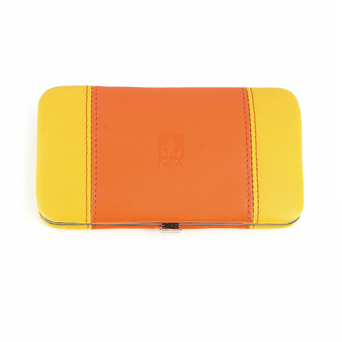 Маникюрный набор Dewal, 5 предметов, цвет желтый/оранжевый, кожаный футляр