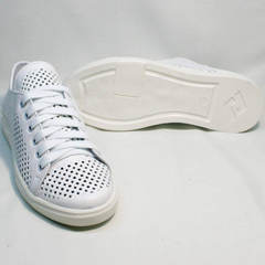 Женские белые кожаные кеды туфли на низком ходу ZiKo KPP2 Wite.