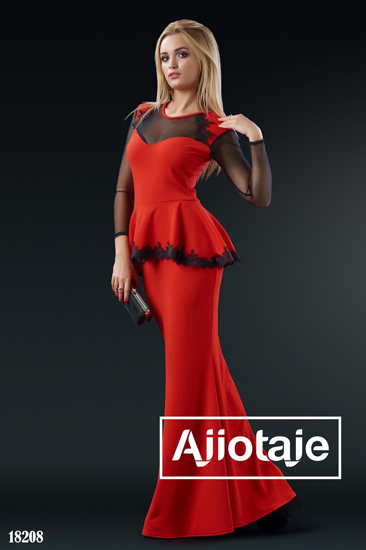 Элегантное платье в пол красного цвета с кружевом