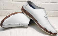 Белые кожаные слипоны туфли мужские летние деловой кэжуал Luciano Bellini 91724-S-304 All White.